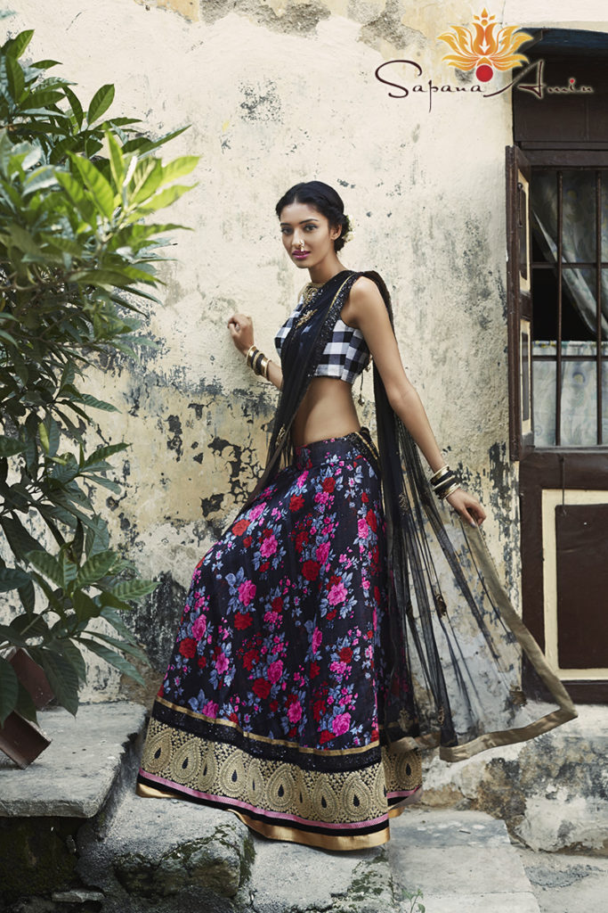 The Black, White And Pink Floral Lehenga