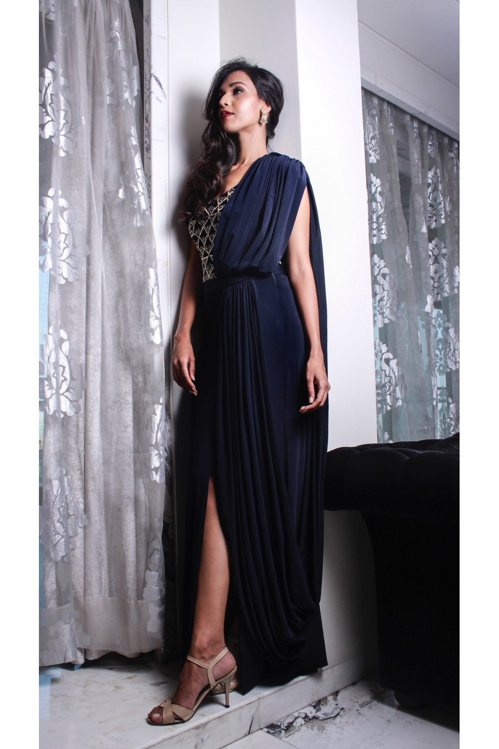Midnight Blue Draped Gown