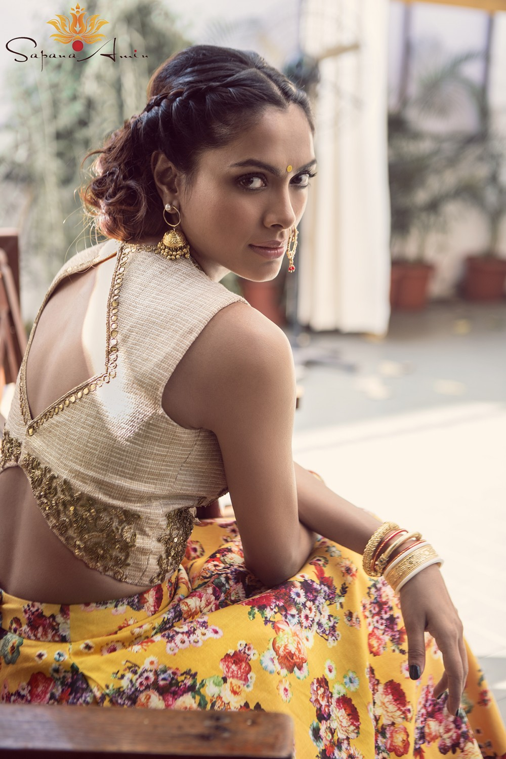 96ff950982d15 White and Gold Crop Top and Yellow Floral Lehenga